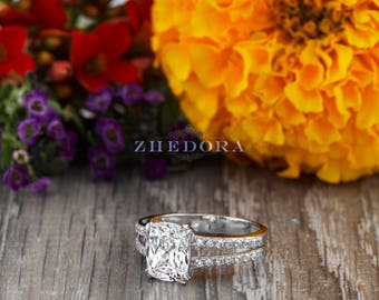 Elongated Cushion Engagement Ring in Solid 14K White Gold Bridal Ring , Cushion Gold Ring