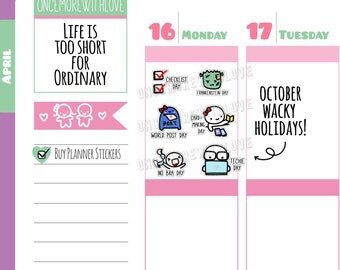 Wacky Holidays - October 2017 Planner Stickers (W10)