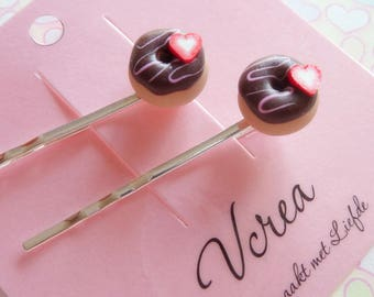 Chocolate Frosted Donuts Hair Pins