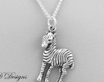 Zebra Necklace, Silver Zebra Pendant, Zebra Charm Necklace, Silver Charm Necklace, Silver Necklace, Trendy Necklace, Animal Necklace