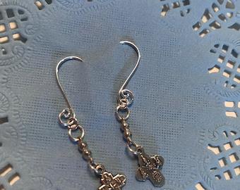 Delicate Four Way Cross Dangle Earrings