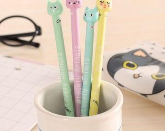 Lovely Animals Cat Pen / Cute Cat Pens / Kawaii Cat Pens / Cute Pens / Kawaii Pens / Cute Gel Pens / Kawaii Gel Pens / Cute School Supplies