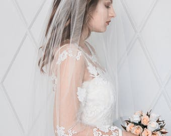 LOVELY | Double tier ivory veil, veil with blusher, soft bridal veil, wedding veil, white veil, ivory veil