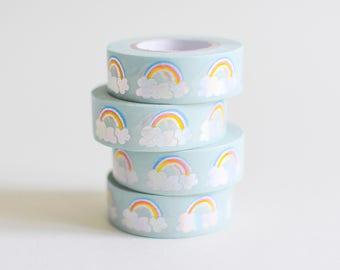 Holo rainbow tape, holo washi tape, rainbow hole washi tape, retro masking tape