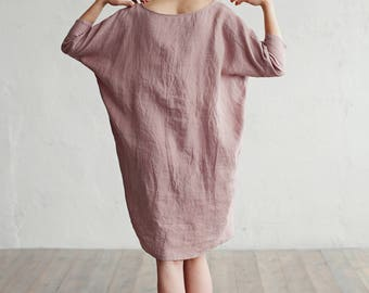 Loose fitted linen dress. 15 colours. Linen clothing for women. Stone washed linen clothes.