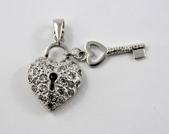 Key to Her Heart Sterling Silver Charm of Pendant.