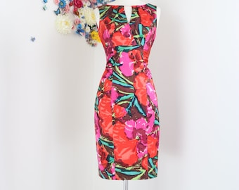 1990s Floral Dress - Vintage Sheath Wiggle Dress - S/M Sz 6 Kay Unger - Sleeveless Summer Spring - Silk Ruched Tropical Floral - Wedding