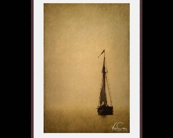 Sailboat in the Fog, Sailboat Fine Art Print, Sailboat on Lake Michigan, Fine Art Print of Sailboat on the Lake