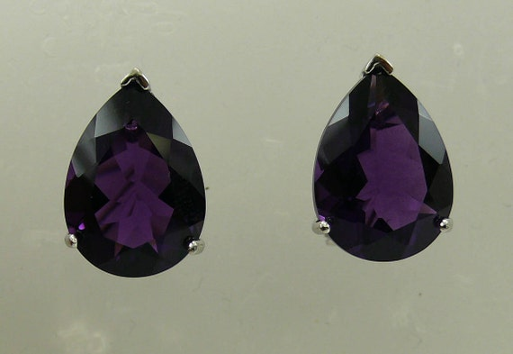 Amethyst Pear Shape Earring with Sterling Silver Omega Backs