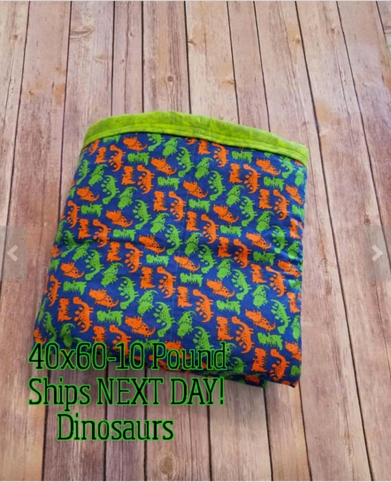 Weighted Blanket, 10 Pound, Dinosaur, 40x60, READY TO SHIP, Twin Size, Adult Weighted Blanket, Next Business Day To Ship