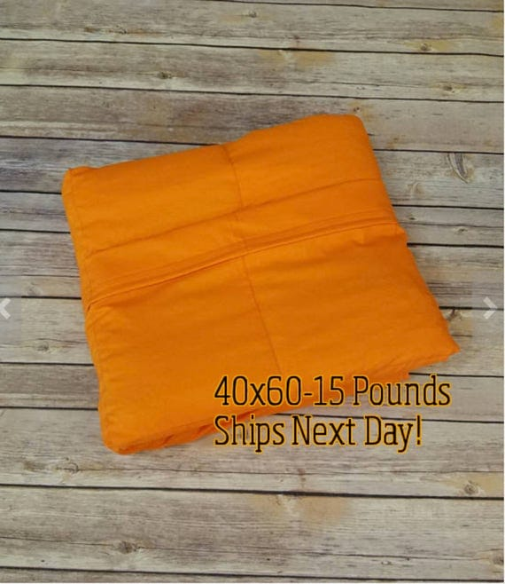 Weighted Blanket, 15 Pound, Orange, 40x60, READY TO SHIP, Twin Size, Adult Weighted Blanket, Next Business Day To Ship