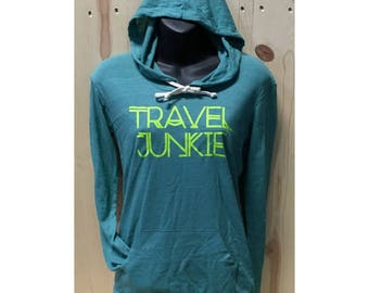 Travel Junkie Womens Hooded Pullover T Shirt Vacay Day Tee Vacation Goddess