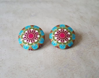 Mandala Studs - Mandala Earrings - Flower Stud Earrings - Bohemian Studs - Abstract Studs - Fabric Stud Earrings - Fabric Button Earrings