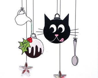 Cat Christmas Purrrrding - hand finished card
