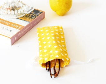 Soft glasses case , yellow and white stars prints , eyeglasses case , sun glasses case , summer gift , yellow , favor bag, birthday party