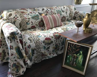 Retro glam floral/leopard print fusion SofaScarf / Only 1 Available