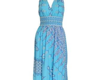 A vintage 1970s Emilio Pucci Cotton Halterneck Dress XS - S
