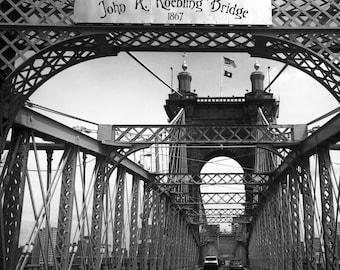 John A. Roebling Suspension Bridge, Architectural Photography, Cincinnati Wall Art, Cincinnati Black & White Photography, Urban Decor