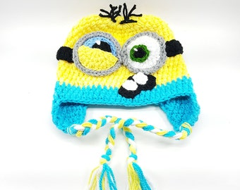 Minion Hat, Despicable Me Hat, Minion Crochet Hat, crochet character hat, newborn hat, photo prop, Handmade Minion Hat, Minion Inspired Hat
