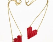 Red heart seed bead pendant and bracelet set - Gold Evil Eye seed bead pendant