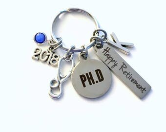 Retirement Gift for Doctor Keychain, 2018 PHD charm PH D Key chain Keyring her women letter initial Men him Professor Researcher Doctorate