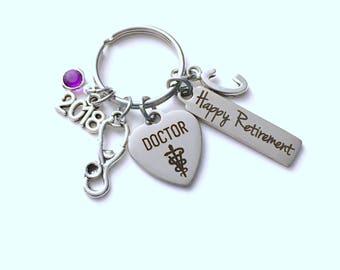 Retirement Gift for Veterinarian Keychain, Vet 2018 Animal Doctor Keyring, Retire Key Chain Present him her women Men Co worker coworker