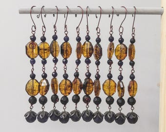 Beaded Autumn Ornament set of 10 in Faux Amber and Faceted Glass Crystal
