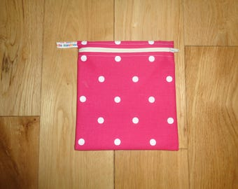 Snack Bag - Bikini Bag - Lunch Bag  - Zero Waste Medium Poppins Waterproof Lined Zip Pouch - Sandwich bag - Eco - Pink White Polka Dot