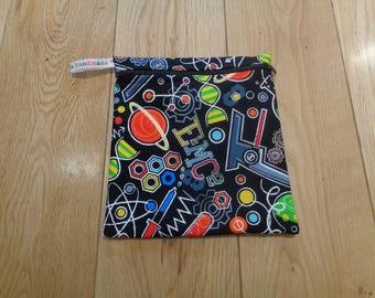Sandwich Baggie Snack Bag - Bikini Bag - Lunch Bag - Craft Bag Medium Poppins Waterproof Lined Zip Pouch - Sandwich bag Science Geek Black