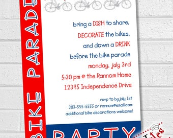 4th of July Bike Parade, Bike Parade Party, Bike Parade Decorating Party, July 4th Bike Decorating Invite, Independence Day | PRINTABLE