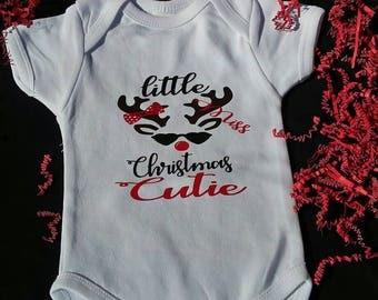 Little Miss Christmas Cutie Onesie, Christmas Onesie Baby Girl, Girls Christmas,