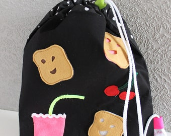 "Snack bag. Original design ""P-tite-face"" lined with cotton."