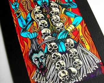 original artwork drawing painting old school kali goddess kalima @méka drawing - drepth