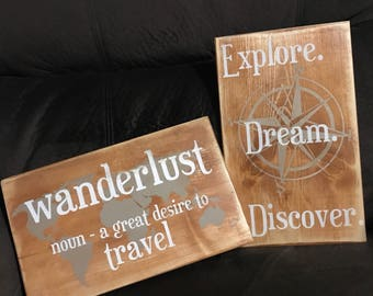 Imperfect  - Set of 2 - Explore Dream Discover & Wanderlust Definition - Travel Sign - Wanderlust - Travel Quote - Adventure - Graduation