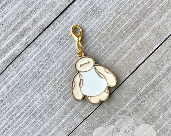 Baymax Planner Charm, Zipper Pull Charm, Gold Notebook Charm, Purse Charm Backpack Charm Decoration