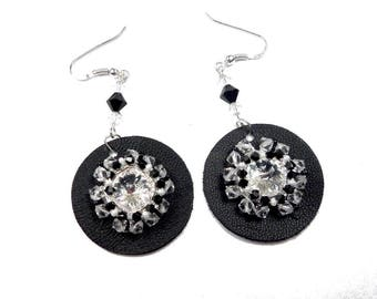 Embroidered, Silver earrings solid, chic black leather, Swarovski Crystal