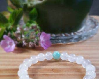 Unconditional Love and Full Moon Blessings - Rose Quartz, Clear Quartz, and Amazonite - Bracelet