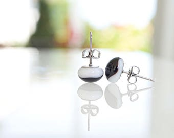 Black and white studs, fused glass earrings, fused glass studs, black earrings, black and white earrings, Valentine's Day jewelry