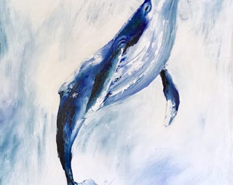 Beyond the Sea, Original Whale Oil Painting on Canvas