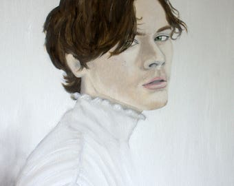 Harry Styles Portrait in White - Painting - Oil on 16x20 Canvas