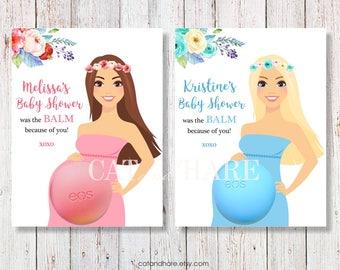 EOS Baby Shower Favors Lip Balm Baby Shower Girl Boy Ideas Boho Theme Flowers Baby Sprinkle Gender Reveal Pink Blue Lavender Mint PRINTABLE