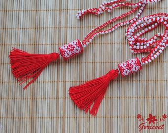 Long necklace Tassel necklace red white embroidered necklace bohemian jewelry Crochet beaded glass necklace red cord necklace gift for women