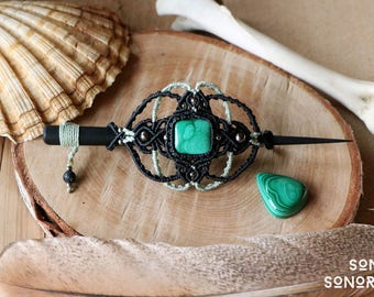 macrame malachite hair barrette with silver beads mint green / black