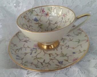 Vintage Bavaria Chintz Demitasse Cup and Saucer, Vintage Western Germany Chintz Demitasse, Alka Kunst Demitasse Cup