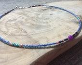 gemstone beaded choker seed bead choker blue bead choker boho seed bead purple choker