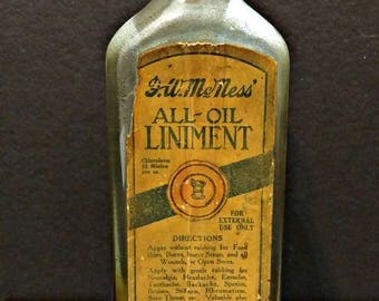 SALE F.W. McNess All-Oil Liniment - Antique Pharmaceutical Apothecary Medicine Bottle