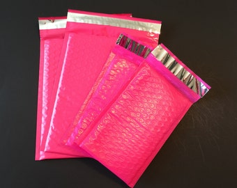 20 4x8 And 6x9 Hot Pink  Bubble Mailers Assortment 10 Each Size 000 Size 0 Self Sealing Shipping Envelopes Valentine Spring Easter