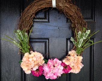 Hydrangea wreath | Country Home Decor | Country Wreath | Front Door Wreath