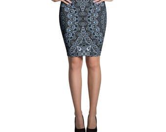 Blue Skirt, Dark Blue Pencil Skirt, Stretchy Patterned Skirt, Women's Knee Length Skirt
