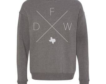 Dallas Fort Worth Sweatshirt - DFW Home Sweater, Texas Off Shoulder Sweatshirt
